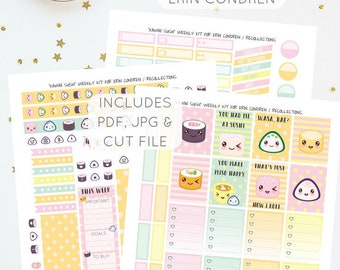 Kawaii Sushi - Weekly Kit for Erin Condren / Recollections Planners   Printable Planner Stickers   Includes PDF, JPG, and Cut File