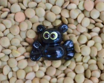 Halloween Bat Bead, Handmade Flameworked Glass Bead, Green Eyed
