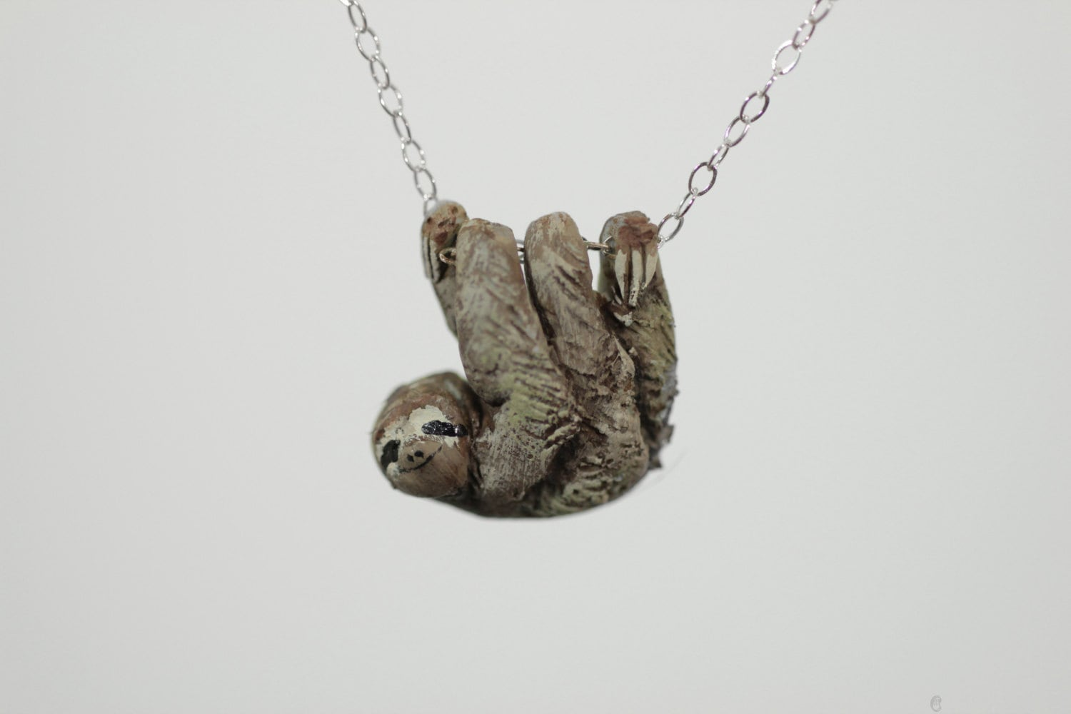 necklace clay sloth with pin hand pendant sculpted painted orange and polymer