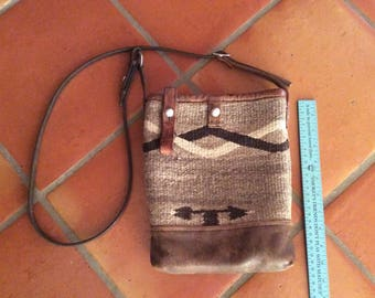 Leather and Native American weaving shoulder bag