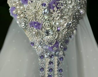Lavender Brooch Bouquet, Purple Cascading Brooch Bouquet, Deposit Only, Full Price 275.00 & Up, Rush Orders Welcome, Reserve with a Deposit