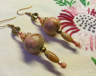 Bohemian Gypsy Old and New Pink, Beige, Brass dangle pierced earrings FREE SHIPPING