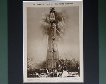 1930s Vintage Romania Print - Industrial Decor - Sepia Art - Sepia Decor - Industry Art - Available Framed - Matted Art - Romanian Oil Tower