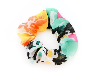 Party Scrunchie - Made from 1960s Vintage Fabric - Teal, Yellow, Pink, Black and White Pattern - by Mane Message on Etsy