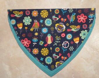 Birds and Blooms OVER THE COLLAR Dog Bandana