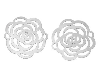 Small Filigree rose connector stainless steel hypoallergenic charms 2pcs