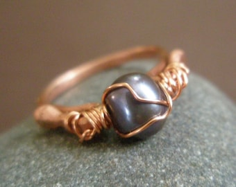 New Moon - Hammered Eco Copper and Peacock Pearl Ring
