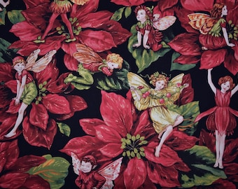 Michael Miller fabric Holiday Fairies Christmas elves Cicely Mary Barker Christmas red poinsettia green fabric elf on the shelf faeries