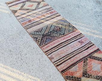 Light Faded Kilim Runner / Vintage Pastel Kilim Carpet 2 x 10