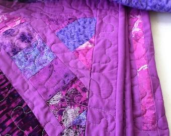 Baby quilt, lap quilt, modern, nursery, pink, lavender, purple, blue, play mat, crib quilt