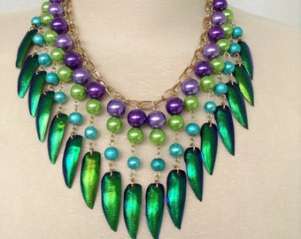 Beetle wing and pearl statement necklace