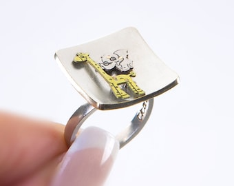 Safari ring, elephant and giraffe, cute animal jewelry, elephant silhouette, ring with giraffe, African animal, sterling silver ring