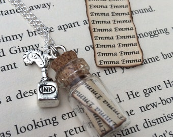 Emma Parchment , Squid Ink Bottle Necklace / Pendant / Bookmark / Earrings / Decoration / Keyring inspired by Once Upon A Time