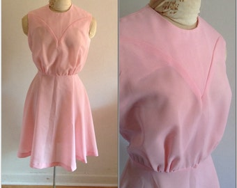 1960s Pink Fit-and-Flare Vintage Dress, size small, 2 4 6, party dress, pink dress, vintage twirling dress, cotton candy, princess