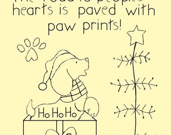 "Primitive Stitchery E-Pattern, December Dog ""The road to peoples hearts is paved with paw prints!"