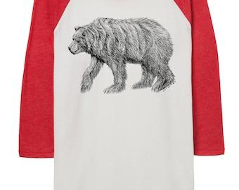 bear Baseball Shirt - 3/4 sleeve - Bear Shirt - Fall - Autumn  - Bears -  Animals -  Clothing - Fall Fashion