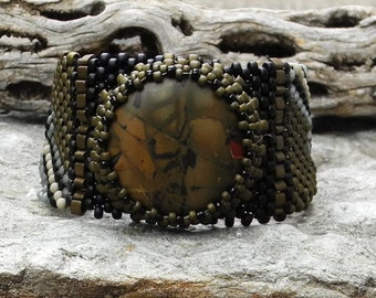 Free Form Peyote Stitch Beaded Bracelet Beaded Cuff - Beaded Cabochon - Bead Weaving  - Red Creek Jasper