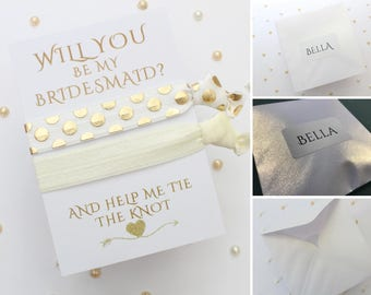 Personalised Bridesmaid Proposal - Bridesmaid Hair Tie - Personalized Will you be my Bridesmaid - Gift for Bridesmaid - Bride Hair Accessory