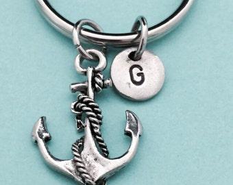 Anchor keychain, anchor charm, nautical keychain, personalized keychain, initial keychain, initial charm, customized keychain, monogram