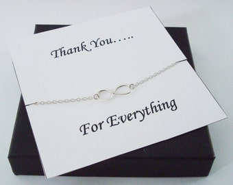Infinity Sterling Silver Necklace ~~Personalized Jewelry Gift Card for Mom, Friend, Best Friend, Sister, Bridal Party, Thank You Card