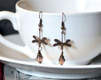 Dragonfly Earrings, Tear Drop Earrings, Copper Earrings, Bronze Earrings, Dainty Earrings, Chandelier Earrings, Steampunk Earrings