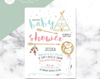 Baby Shower Invitation // Teepee // 120 x 180mm // Change to any Occasion