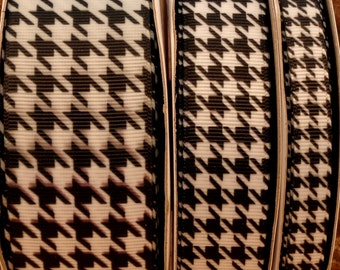 "2 Yards US Designer 3/8"", 7/8"" or 1.5"" Black and White Houndstooth Print Grosgrain Ribbon"