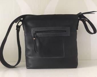 Leather Shoulder Bag VanStoel#218 BLACK