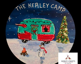 Camping Christmas Ornament - Camper Ornaments - Holiday Camper - Personalized - Hand Painted Camper - Christmas Camper - Camping Gift idea