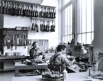 Schuback Violin Shop vintage press photo black and white