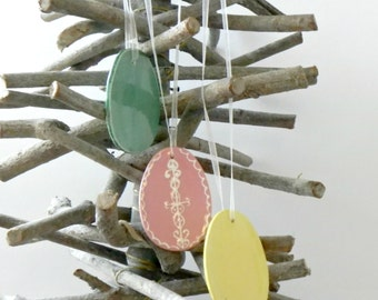 Pastel Ceramic Egg Ornaments Pink, Yellow, Mint Ceramic Home Decoration Gift Set of 3