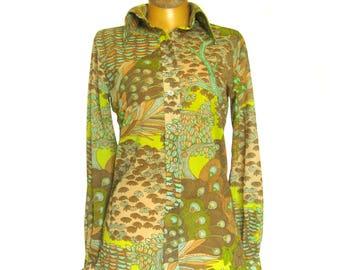 Mod Vintage Women's Blouse / Hippie Chic / Peter Max Style Op Art / Trees in Forest / Button Front Blouse / Lime Green / Elles Belles / 9/10