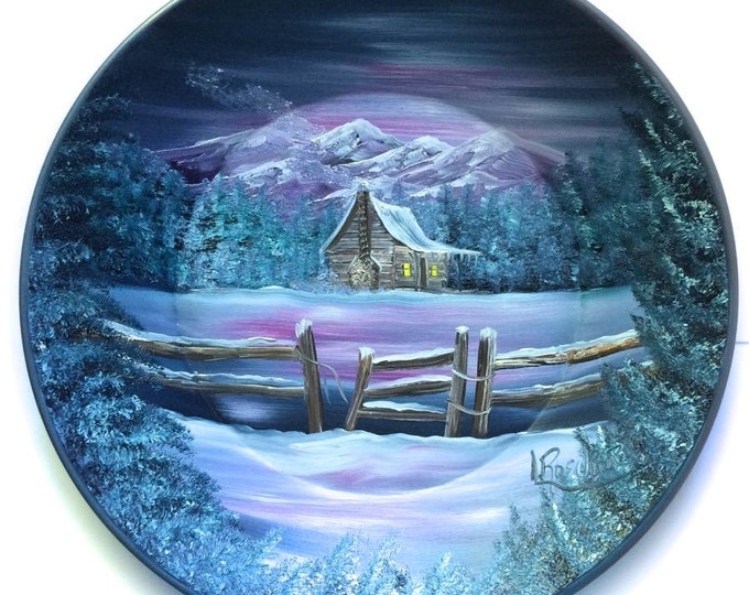 Hand Painted 11 Inch Gold Pans Mountain Gray Mauve Winter Cabin  On Sale!!