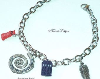 Stainless Steel Doctor Who Charm Bracelet Custom made charms by Torres Designs Collectible Gift Ready To Ship