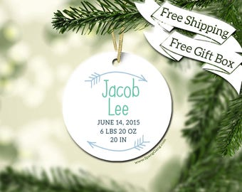 Baby's First Christmas Ornament | First Christmas Ornament | Personalized Baby Stats Ornament | Christmas Ornament for New Mom | DoubleArrow