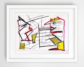 abstract ink drawing painting, abstract wall art, modern wall art, wall hanging art, large wall art painting watercolor