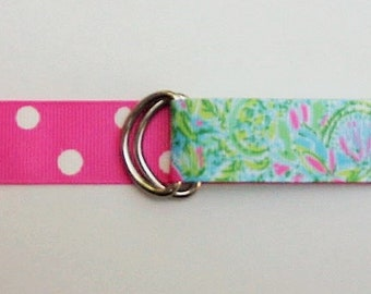 "Lilly Pulitzer Inspired Ribbon BELT / REVERSIBLE / Coconut/7/8"" wide /Grosgrain /  Preppy/ Girls /Kids/Childs/Womens/Pink /Blue /Green/Dots"