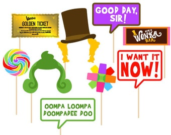 Willy Wonka Photo Booth Props - Set of 9