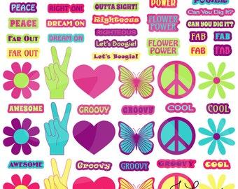 Digital Clipart-Symbols-Words-Groovy Girl-Flowers-Seventies-Sixties-Retro-Peace-Butterflies-Scrapbook-Printable-Instant Download Clip Art