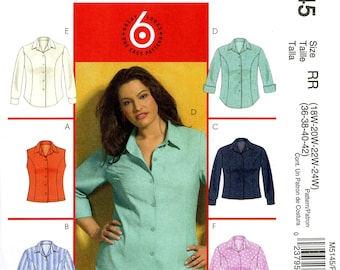 McCall's M5145 Blouse Top Shirt Button Front Princess Seams Size 18W 20W 22W 24W Uncut Sewing Pattern 2006