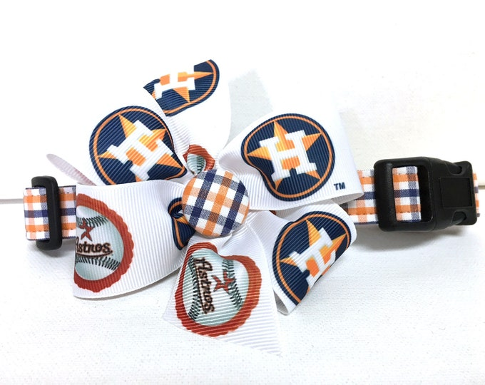 Featured listing image: Dog Collar- The Houston Astros- Collar with removable bow