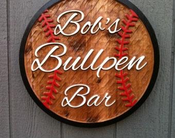 Baseball Bar Cedar Sign - Sports Bar Sign - Personalized - Custom Carved Cedar Signs