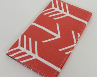 Checkbook Cover Case Cheque Book Receipts  - Large White Arrows on Coral Fabric