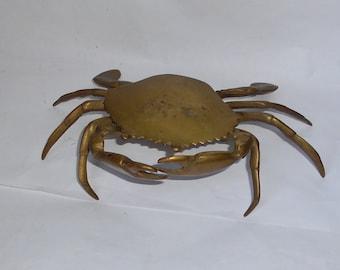 Vintage Anatomically Correct BRASS Crab Ashtray.
