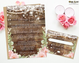 Boho Wedding Invites, Floral Wedding Invitation Rustic Wood Floral Wedding Invites Boho DIY invitation Suite Rustic Jars Wedding, Bohemian