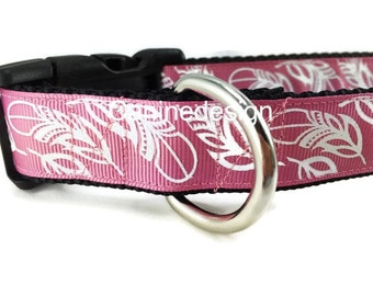 Dog Collar, Feathers, 1 inch wide, adjustable, quick release, metal buckle, chain, martingale, hybrid, nylon
