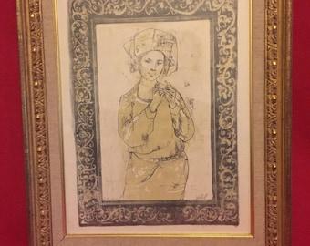 Edna Hibel signed lithograph
