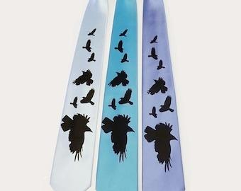 RokGear Murder of Crows Mens microfiber necktie Raven Crow tie