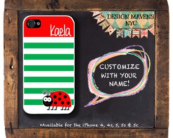 Ladybug iPhone Case, Spring iPhone Case, Personalized iPhone Case, iPhone 4, 4s, Phone 5, 5s, iPhone 5c, iPhone 6, 6s, 6 Plus, Phone Case