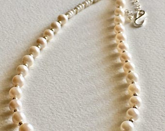 White Pearl Silver Lovely Necklace
